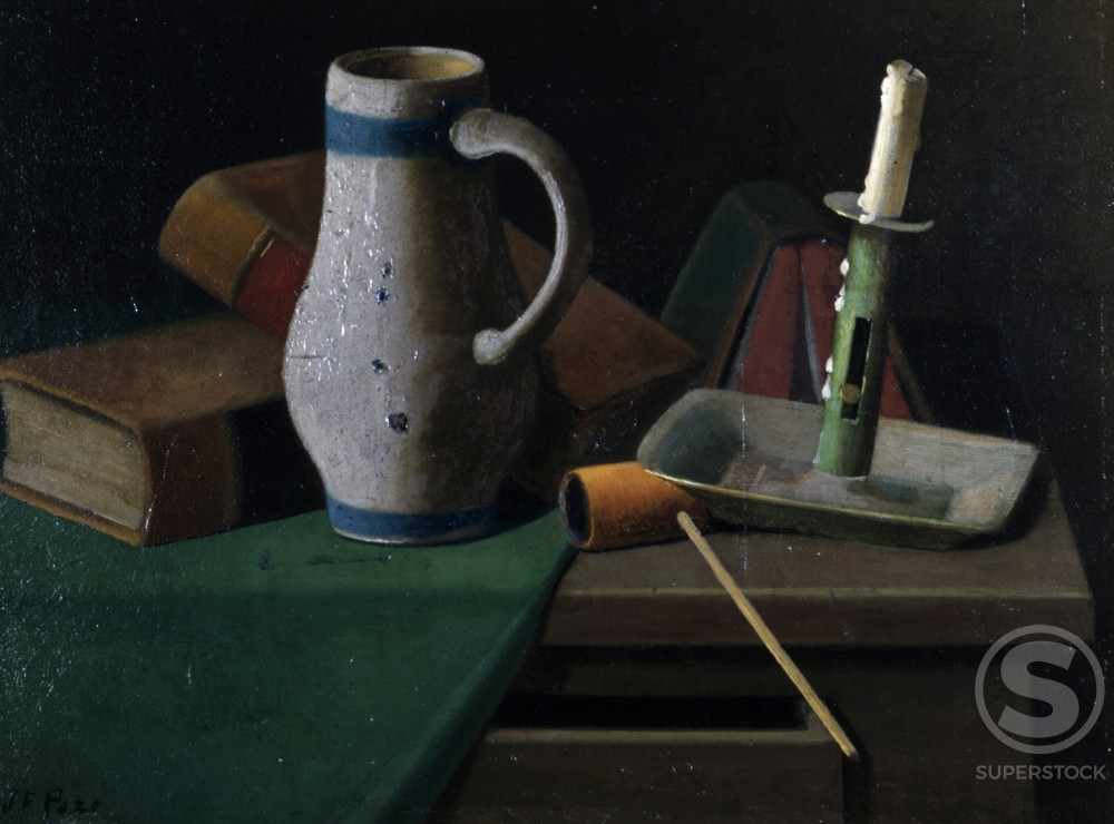 Pipe, Jug and Candle by John Frederick Peto, oil on wood panel, (1854-1907), USA, Pennsylvania, Philadelphia, David David Gallery : Stock Photo