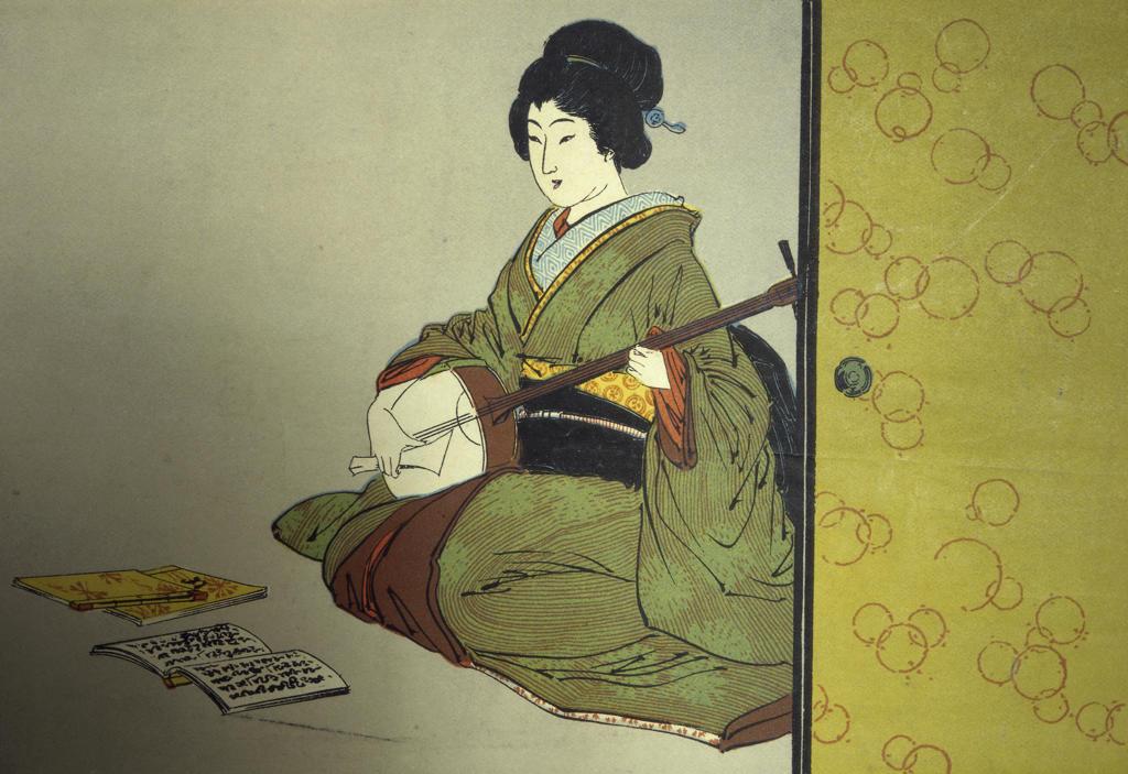 Stock Photo: 849-11446 Woman Playing an Instrument  Japanese Art  David David Gallery, Philadelphia