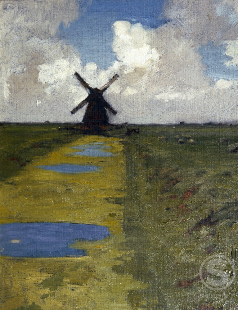 Stock Photo: 849-11526 Windmill by Henry Bailey Snell, painting, (1858-1943), USA, Pennsylvania, Philadelphia, David David Gallery