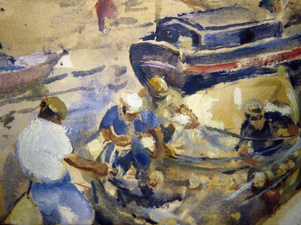 Stock Photo: 849-11530 Fishermen by Martha Walter,  watercolor on paper,  (1875-1976),  USA,  Pennsylvania,  Philadelphia,  David David Gallery,  1930