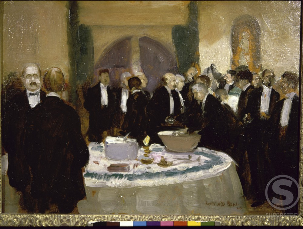 Reception At The Century Club by Gifford Reynolds Beal, oil on board, 1920, 1879-1956, USA, Pennsylvania, Philadelphia, David David Gallery : Stock Photo