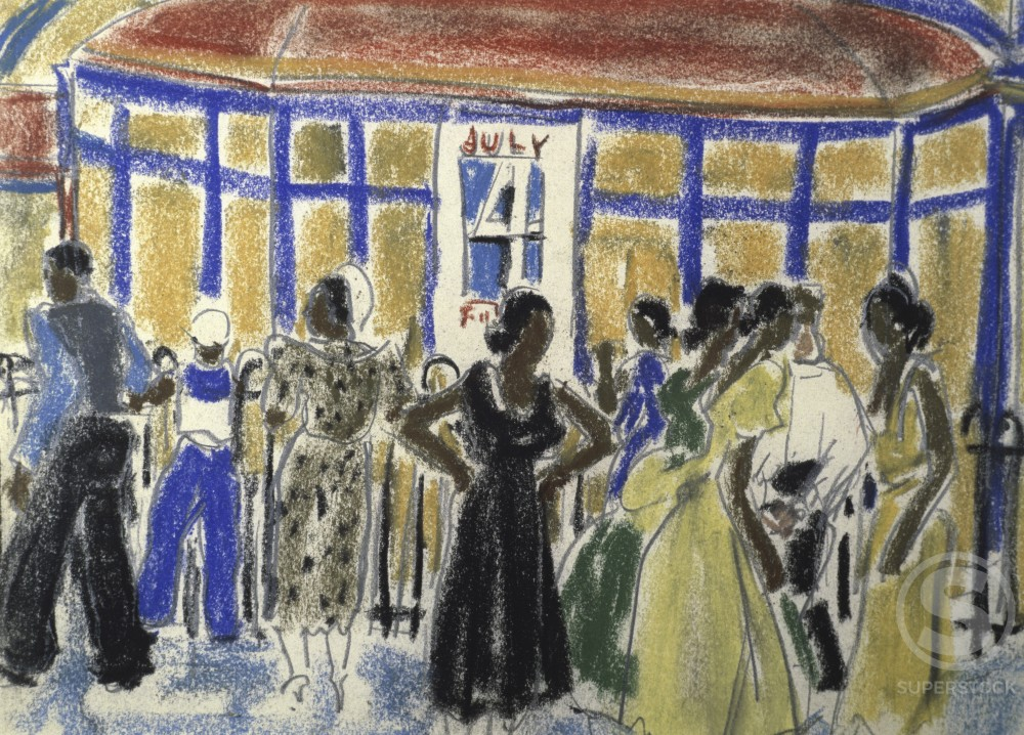 Stock Photo: 849-11602 Party on the 4th of July,  by Ethel Ashton,  pastel on paper,  1930,  (1896-1975),  USA,  Pennsylvania,  Philadelphia,  David David Gallery
