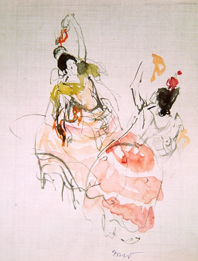 Stock Photo: 849-11688 Spanish Dancers by Martha Walter, watercolor, 1875-1976, USA, Pennsylvania, Philadelphia, David David Gallery