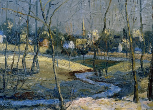 Stock Photo: 849-11699 The Creek by Walter Emerson Baum, oil on board, 1920, 1884-1956