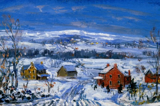 Stock Photo: 849-11705 Winter Bucks County by Walter Emerson Baum, oil on board, 1935, 1884-1956