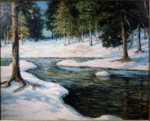 Wintry Landscape by Koeniger, Walter, 1881-1943, USA, Pennsylvania, Philadelphia, David David Gallery : Stock Photo