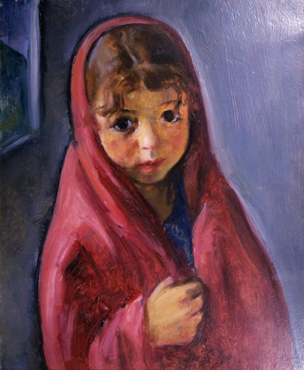 Stock Photo: 849-11746 Girl in Red Shawl by Martha Walter, oil on board, 1875-1976
