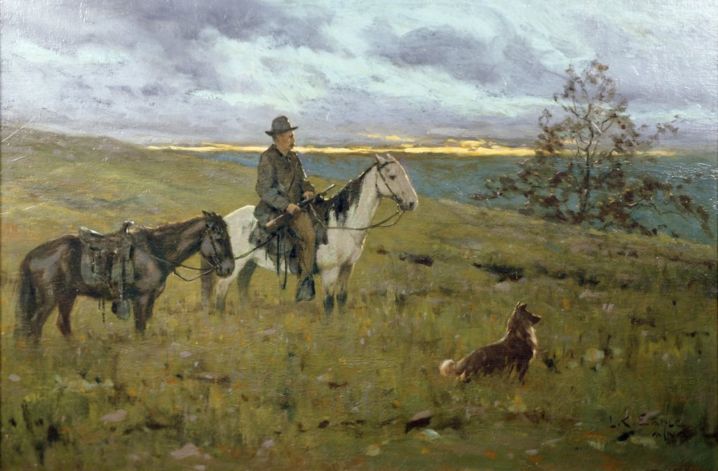 Stock Photo: 849-11796 Scout by Lawrence Earle,  oil on canvas,  1895,  (1845-1921),  USA,  Philadelphia,  Pennsylvania,  David David Gallery
