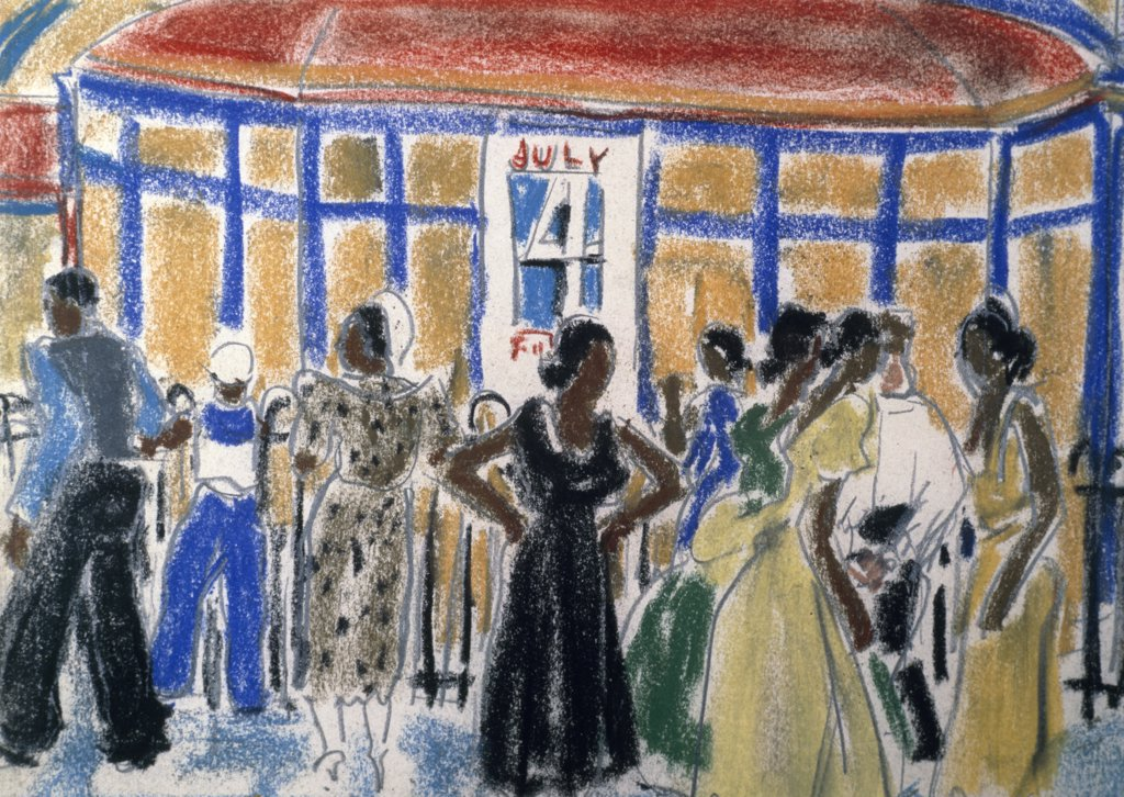 Stock Photo: 849-11802 Party on the 4th of July by Ethel Ashton,  pastel drawing,  Circa 1930,  (1896-1975),  USA,  Philadelphia,  Pennsylvania,  David David Gallery