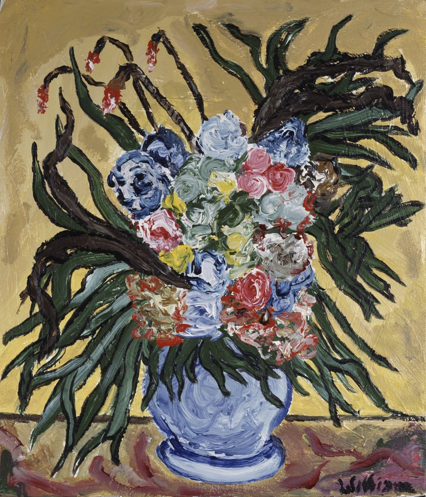 Stock Photo: 860-629 Roses In Blue Vase II 1994 William W. Huggin (b.1966 American)) Acrylic On Canvas Private Collection