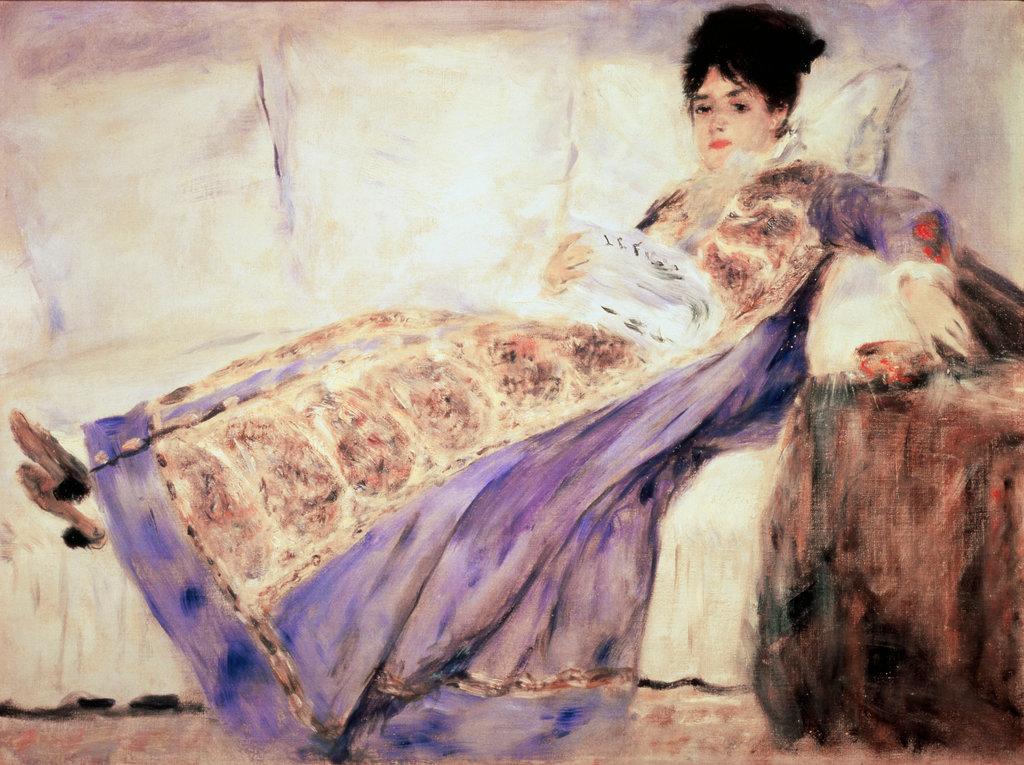 Portrait of Mme. Monet Pierre Auguste Renoir (1841-1919 French) Calouste Gulbenkian Museum, Lisbon, Portugal : Stock Photo