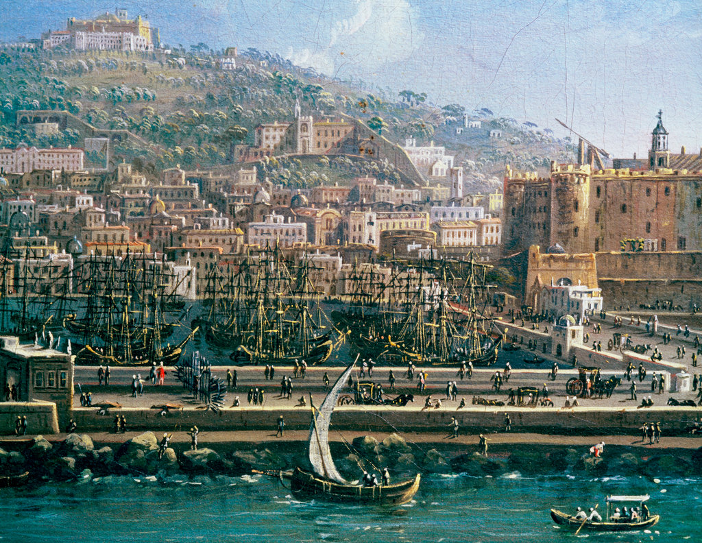 Stock Photo: 862-1026 Naples Docks With Castelnuovo 