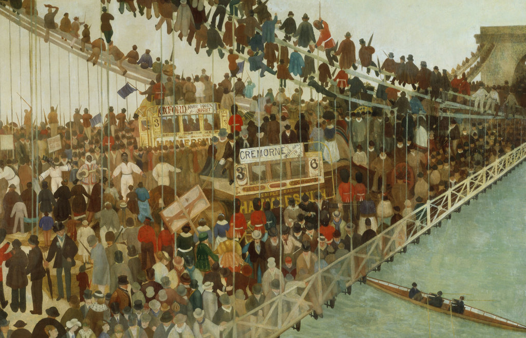 Stock Photo: 862-1034 Hammersmith Bridge on Boat Race Day
