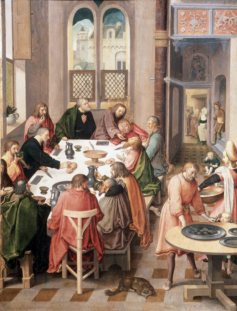 Stock Photo: 862-1040 The Last Supper  Lucas van Leyden (1494-1533/ Dutch)  Oil on Wood Panel  Suermondt Museum, Aachen, Germany