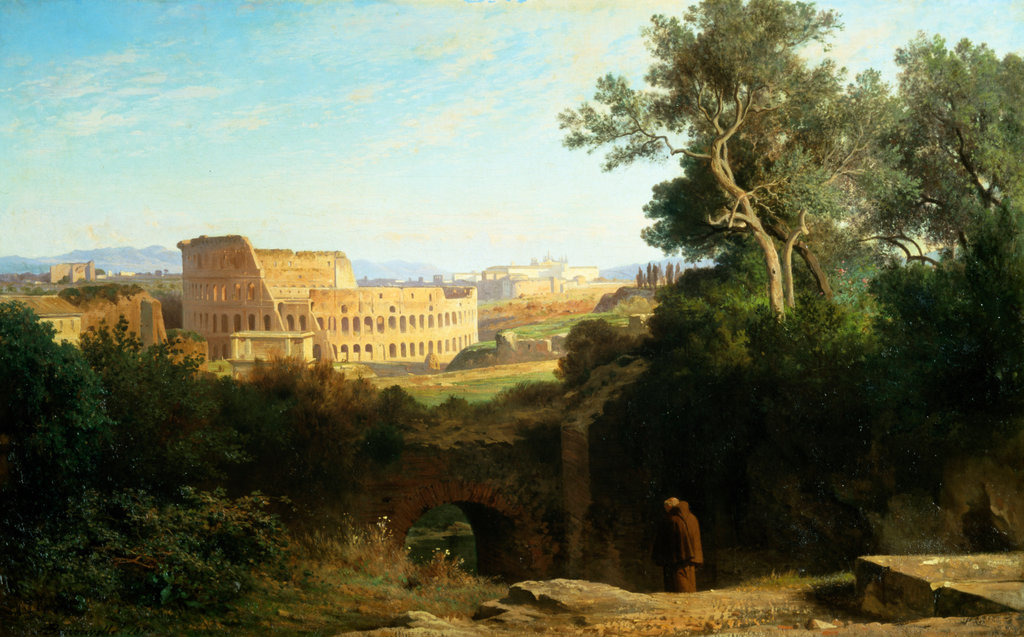 Stock Photo: 862-1042 Italy,  Rome,  Colosseum from Palatine Hill,  by Achille Benouville,  France,  Paris,  Musee D'Orsay Paris,  1815-1911