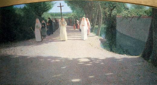 The Procession Giuseppe Pellizza da Volpedo (1868-1907/Italian) Museo Nazionale della Scienza e della Tecnica, Milan, Italy : Stock Photo