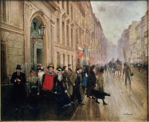 Leaving the Conservatoire of Music in Paris Jean Beraud (1849-1936 French) Musee Carnavalet, Paris, France : Stock Photo