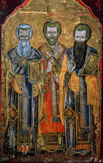 Stock Photo: 862-1058 St. Gregory of Nazianzus Flanked by St. John of Chrysostom & St. Basil Great, unknown artist, icon, Turkey, Antalya Museum