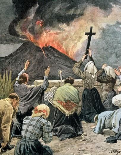 Eruption of Vesuvius 1906 Artist Unknown : Stock Photo
