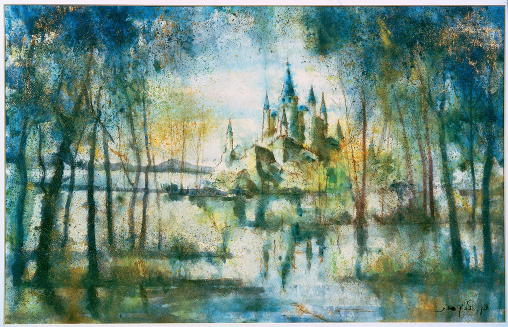 Backdrop for Swan Lake  G. Rigon  Ink with watercolor Private Collection, Milan   : Stock Photo