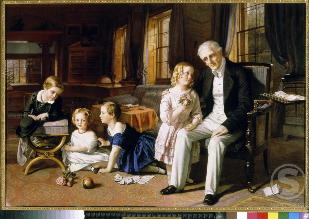 Stock Photo: 862-1138 Arthur Duke of Wellington with Grandchildren in Library at Stratfield Saye 