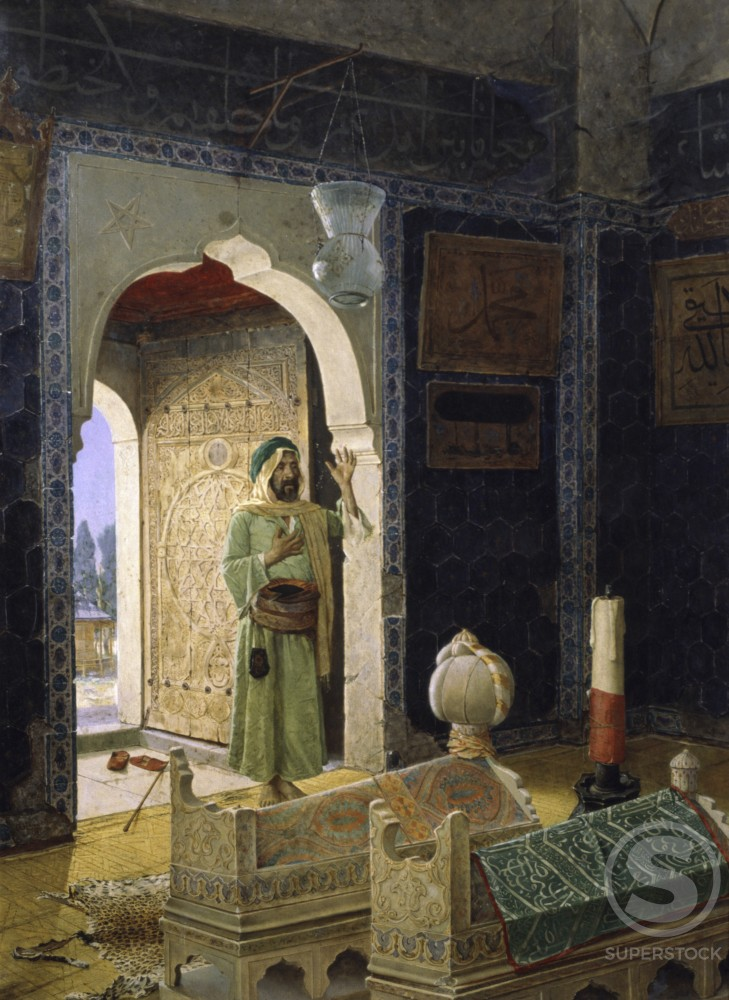 Interior of Mosque Sehzade in Istanbul Hamdy Osman Bey (1842-1910) Oil on Canvas Fine Art Museum, Istanbul, Turkey : Stock Photo