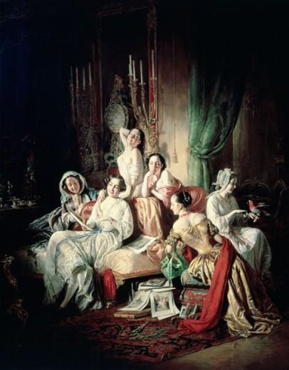 Girls After The Ball  Borsos, Josef(1821-1883 Hungarian) National Gallery, Budapest, Hungary  : Stock Photo