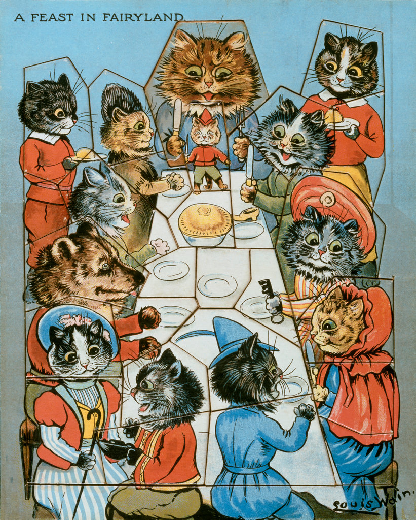 Jigsaw, A Feast in Fairyland, Cat's Tea Party Louis William Wain (1860-1939/British) Private Collection  : Stock Photo