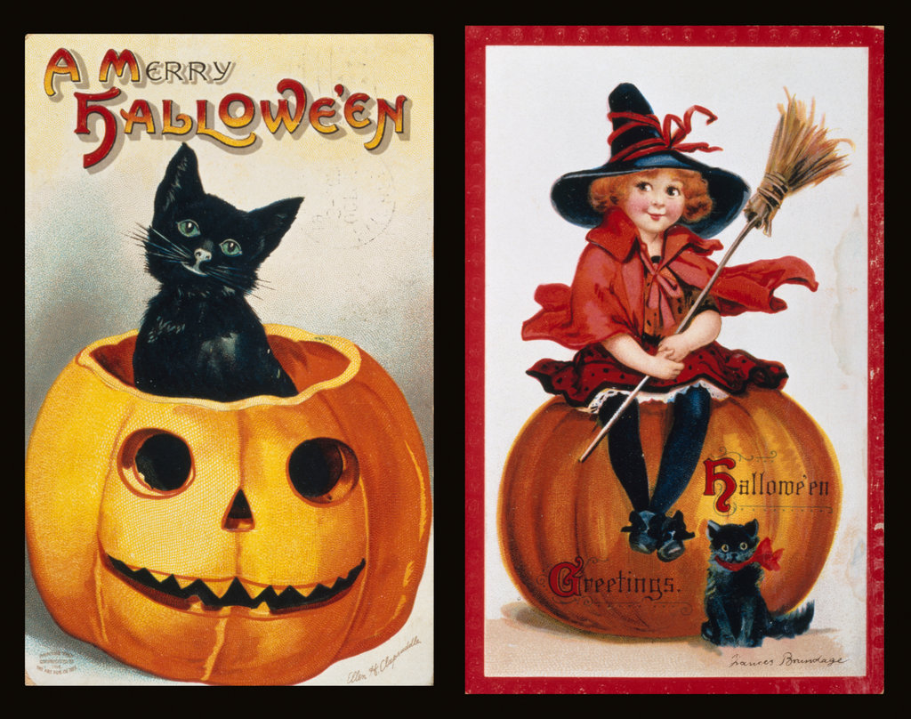 Stock Photo: 862-1194 Cat in Pumpkin for Halloween,  by Ellen Clapsaddle