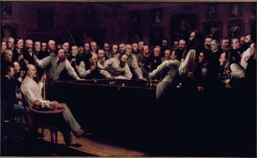Stock Photo: 862-1209 Forty Three Members In The Billiard Room O'Neil, Henry Nelson(1817-1880 British) Garrick Club, London, England