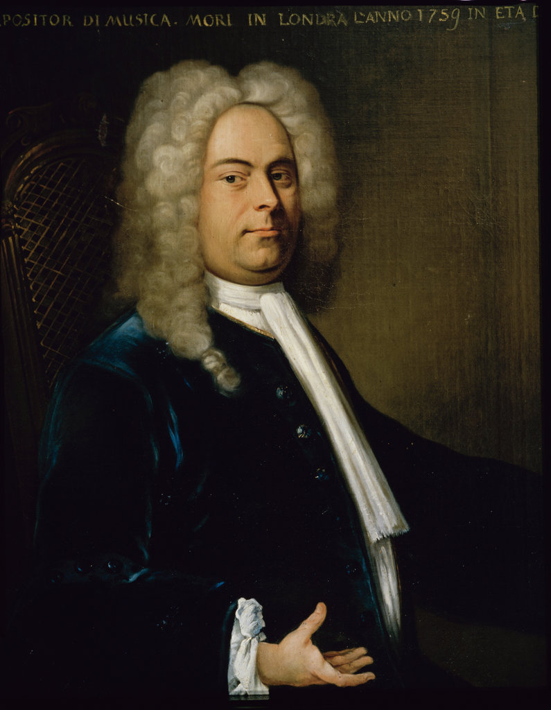 Stock Photo: 862-1231 Portrait of G.F. Handel Artist Unknown Museum of Music, Bologna, Italy