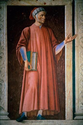 Dante Alighieri Andrea del Castagno (1419/21-1457/Florentine) Uffizi Gallery Florence  : Stock Photo