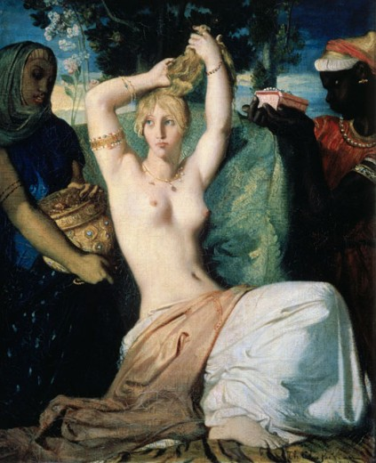 Stock Photo: 862-1253 Esther Adorning Herself  Chasseriau, Theodore(1819-1856 French) Musee du Louvre, Paris, France