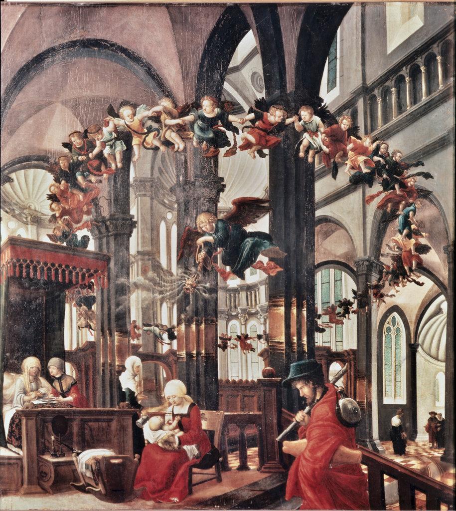 Stock Photo: 862-1264 Birth of Mary c.1525 Albrecht Altdorfer (ca.1480-1538/German) Oil on Canvas Alte Pinakothek, Munich, Germany