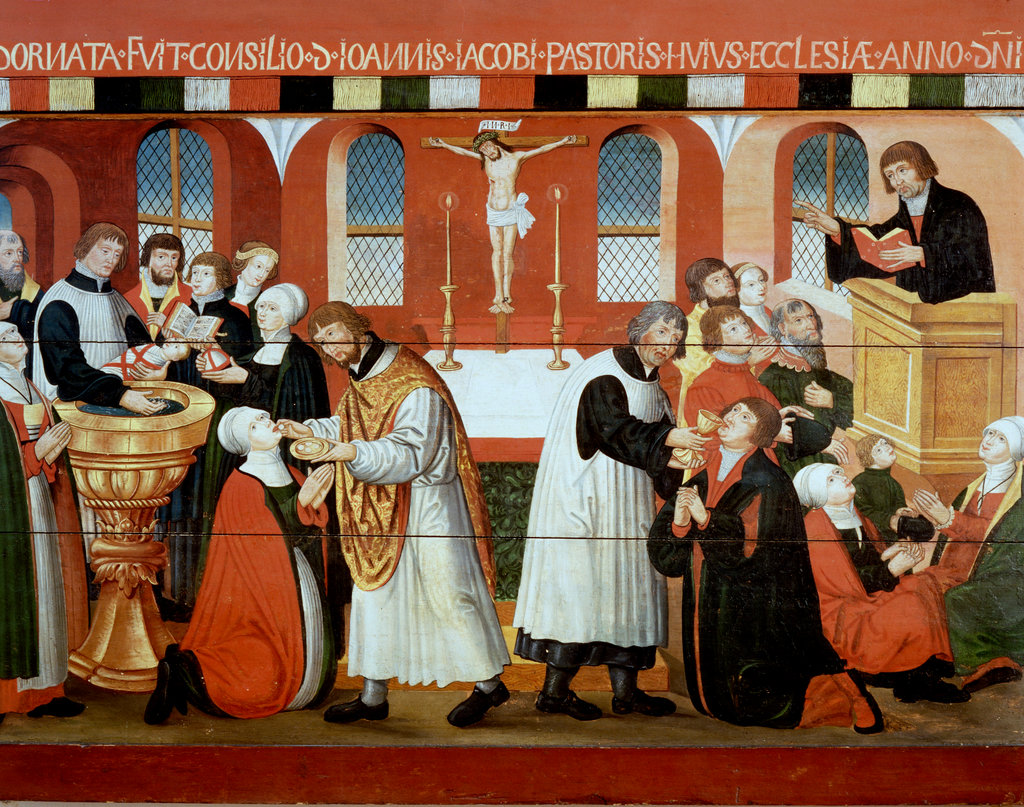 Martin Luther Preaching to Faithful