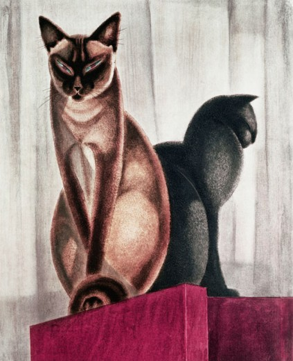 Stock Photo: 862-1323 Siamese Cats 1930 Jacques Nam (1881-1974 French) Lithograph Private Collection