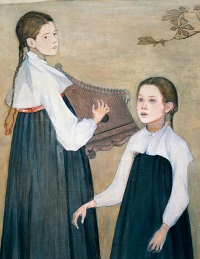 Stock Photo: 862-1348 Children Singing  1895 Stjersschnatz, B.(19th C.- ) Ateneum Art Museum, Helsinki, Finland