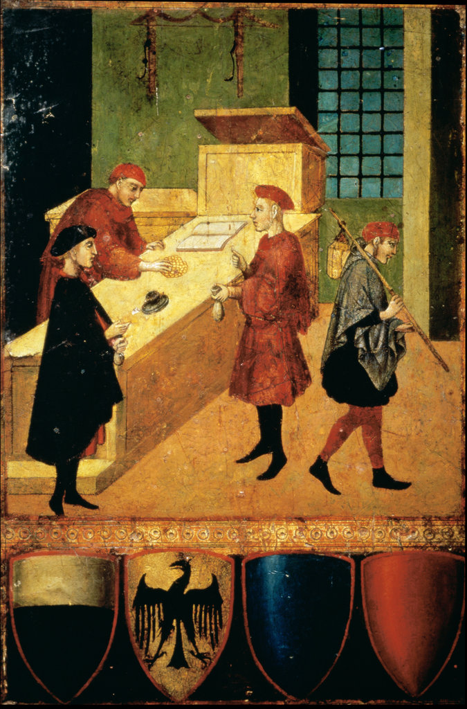 Stock Photo: 862-1352 Workers Being Paid by Sani di Pietro, Siena Commune  14th Century Artist Unknown Manuscript Illumination  Siena State Archives, Italy