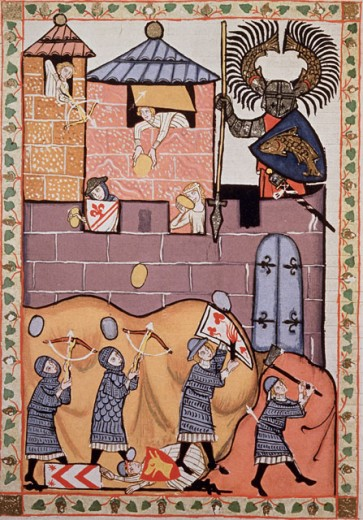 Stock Photo: 862-1353 Manesse Codex:  Siege of Wartburg-Defense of Women