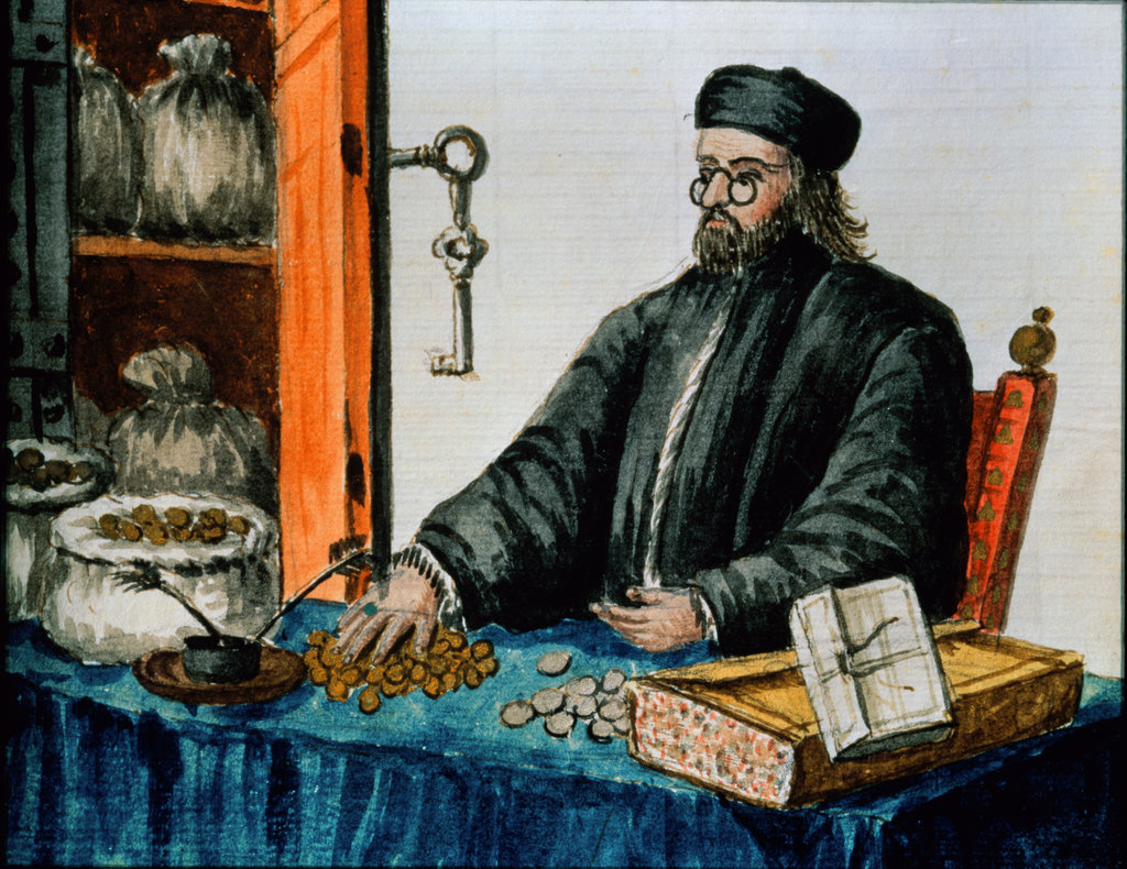 Stock Photo: 862-1356 Gravenbrock Manuscript:  Nobleman Handling Money
