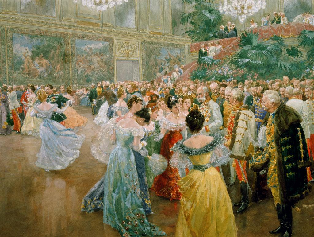 Stock Photo: 862-1360 Emperor Franz Joseph at a Ball in Vienna  Wilhelm Gause (1853-1916/German) Watercolor  Museum der Stadt, Vienna