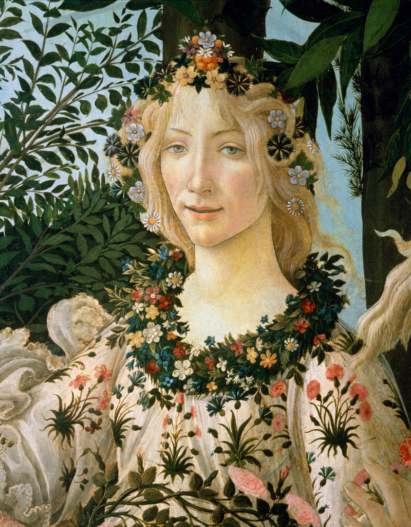 Stock Photo: 862-1364 La Primavera  (Detail)  c. 1475 Sandro Botticelli (1444-1510/ Italian)  Tempera on wood panel Galleria degli Uffizi, Florence