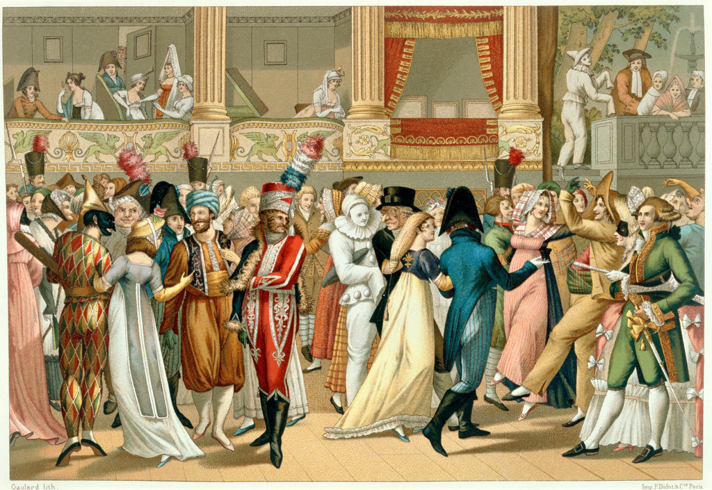 Dancing at the Opera Bal d'Opra  Lithograph Artist Unknown, After Bosio     flopped : Stock Photo