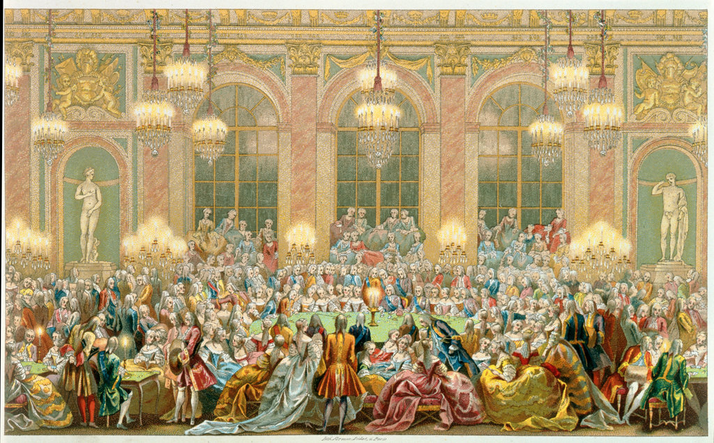 King Louis XV and Guests Playing Cards at Versailles  1720 Artist Unknown Lithograph  : Stock Photo