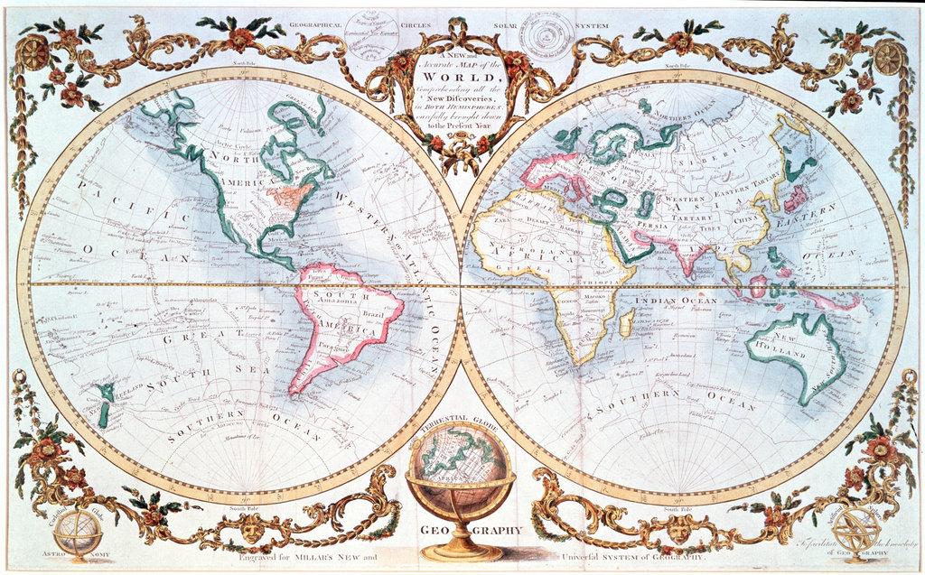 Stock Photo: 862-1401 World Map (Millar) C.1780 Maps