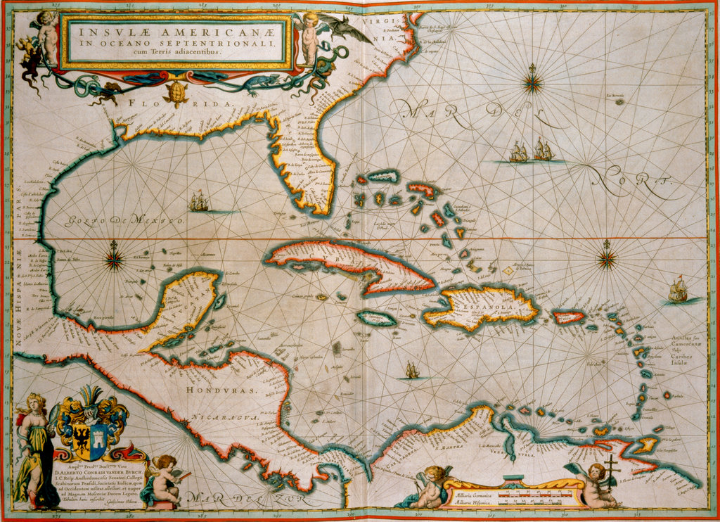 Stock Photo: 862-1405 Map of Caribbean Islands by Willem Blaeu C. 1659 Maps