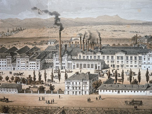 Stock Photo: 862-1411 View Of Brewery Brauhaus Liesing Near Vienna 19th Century Artist Unknown Engraving Museum der Stadt, Vienna, Austria