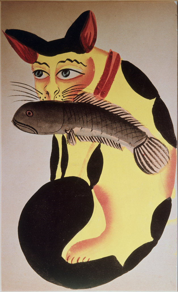 Stock Photo: 862-1429 Cat with Fish - Indian Kalighat