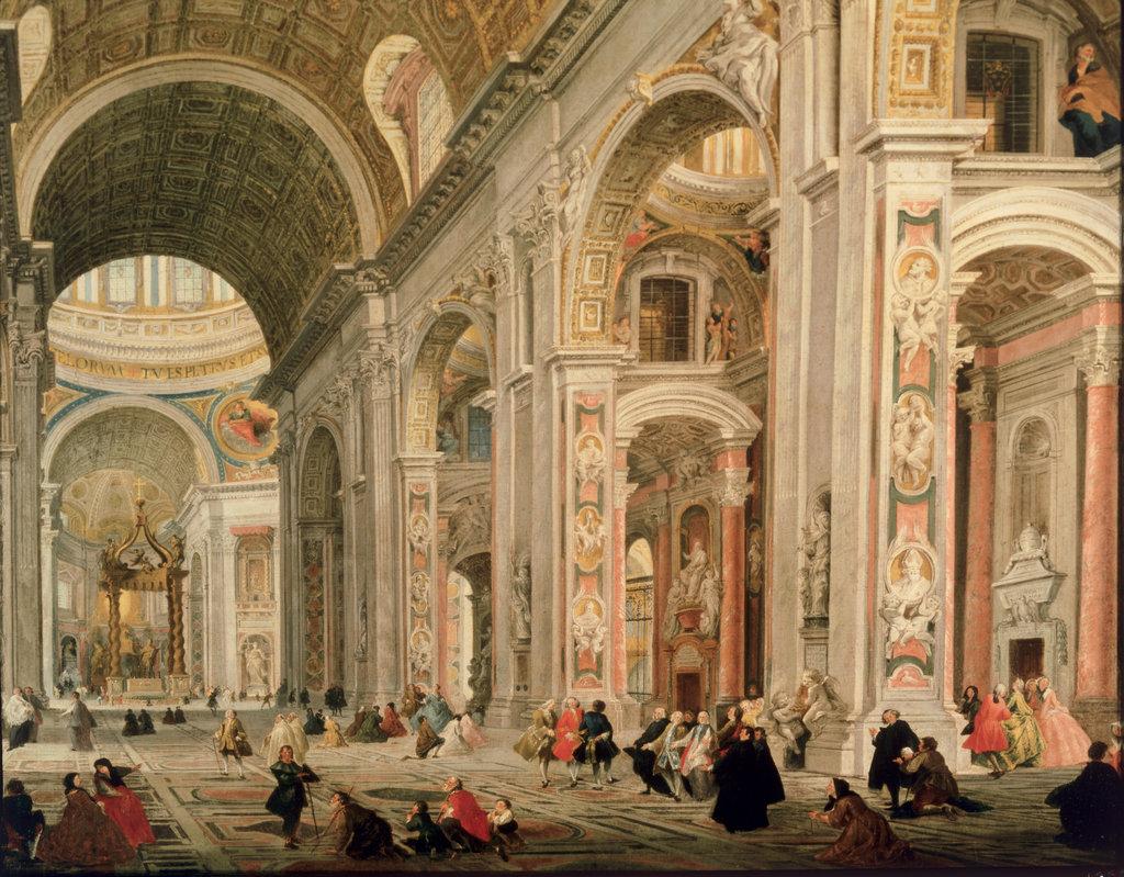 Stock Photo: 862-1446 Interior of Basilica of St. Peters, Rome Giovanni Paolo Panini (1692-1765 Italian) Ca'Rezzonico, Venice, Italy