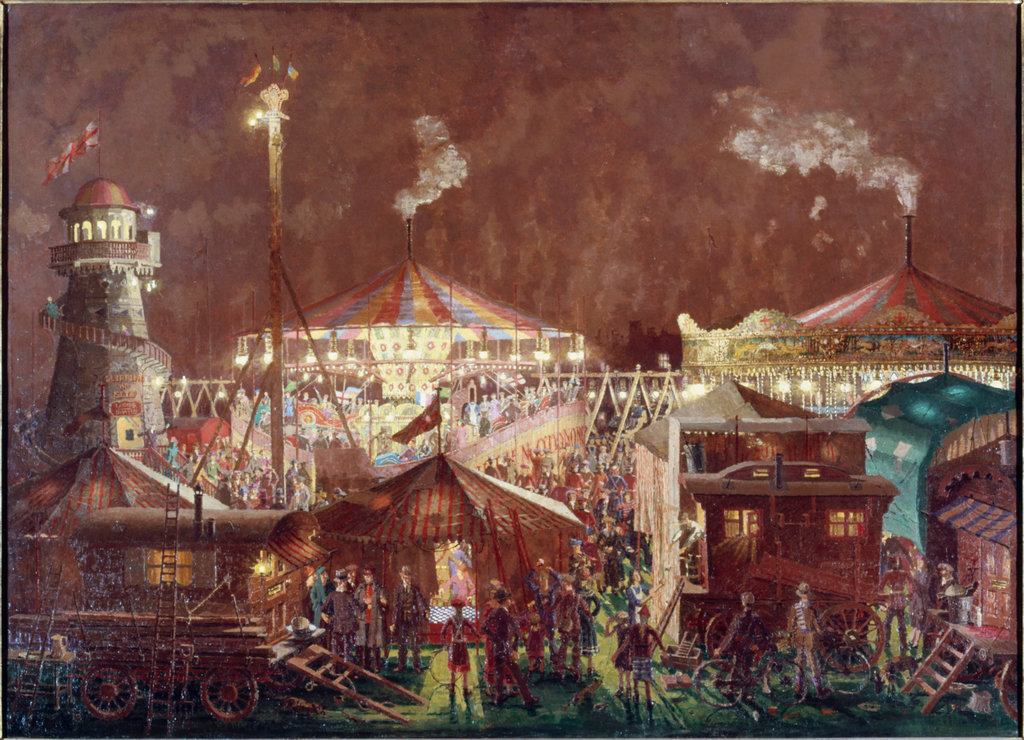 Stock Photo: 862-1467 A Fair At Night  1938 Gwynne-Jones, Allan(1892-1982 British) Tate Gallery, London, England